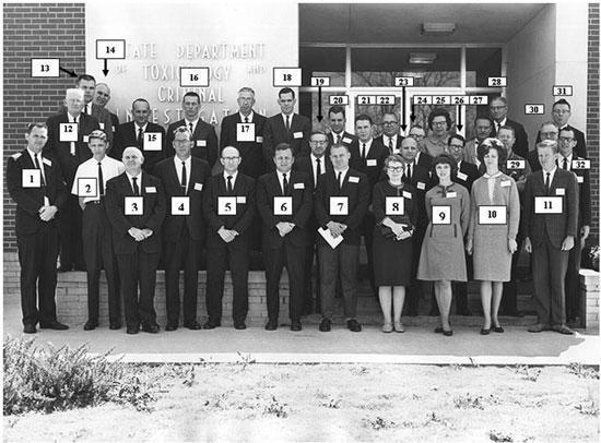 Photo taken in front of the Alabama Dept. of Toxicology building at the 2nd organizational meeting of SAFS on 19 Mar 1966, on the campus of Auburn University